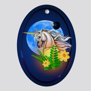 White Unicorn, Alien World Ornament (Oval)