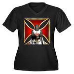 Templar and Cross Women's Plus Size V-Neck Dark T-