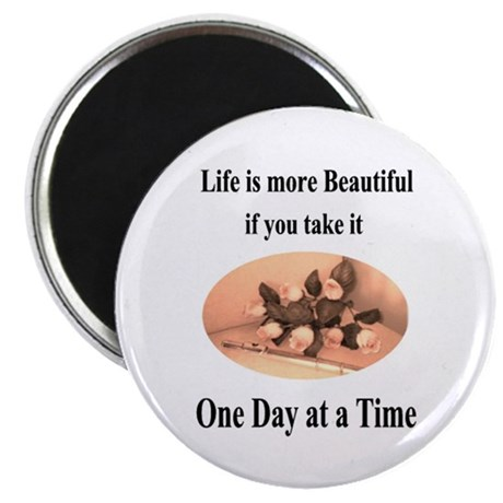 Fancy Flute and Roses 'One Day at a Time' Magnet