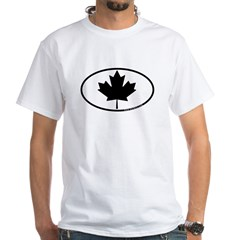 Black Maple Leaf White T-Shirt