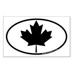 Black Maple Leaf Sticker (Rectangle 50 pk)
