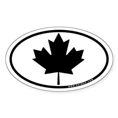 Black Maple Leaf Sticker (Oval)