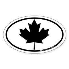 Black Maple Leaf Sticker (Oval 10 pk)