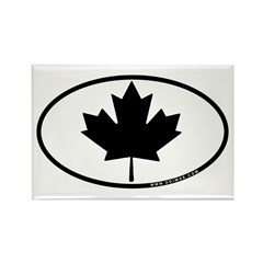 Black Maple Leaf Rectangle Magnet (10 pack)