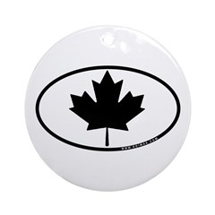 Black Maple Leaf Ornament (Round)