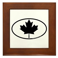 Black Maple Leaf Framed Tile