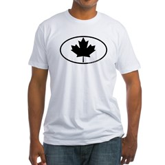 Black Maple Leaf Fitted T-Shirt