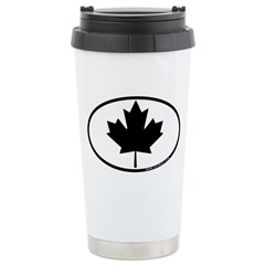 Black Maple Leaf Stainless Steel Travel Mug
