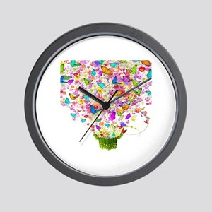 Butterflies and Flowers Forming Tree Wall Clock