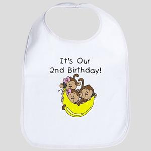 Triplets 2nd Birthday Bib