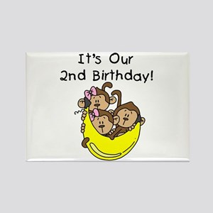 Triplets 2nd Birthday Rectangle Magnet