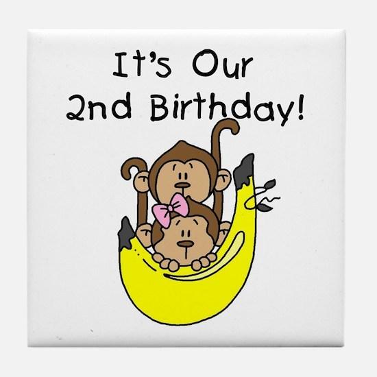 Twin Boy and Girl 2nd Birthday Tile Coaster