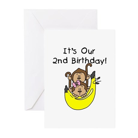 Twin Boy And Girl 2nd Birthday Greeting Cards Pk By Peacockcards