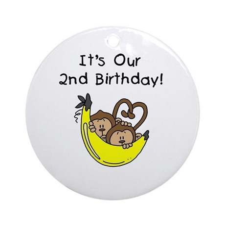 Twin Boys 2nd Birthday Ornament (Round)