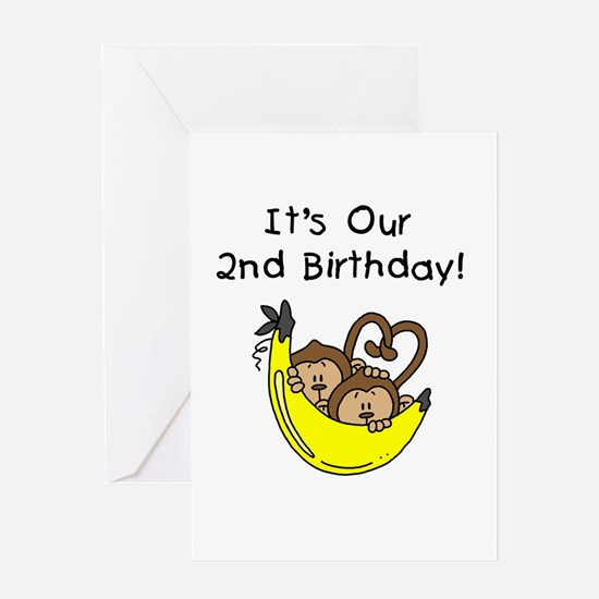 Twin Boys 2nd Birthday Greeting Card