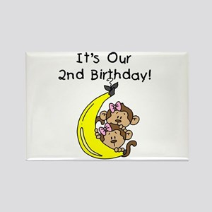 Twin Girls 2nd Birthday Rectangle Magnet