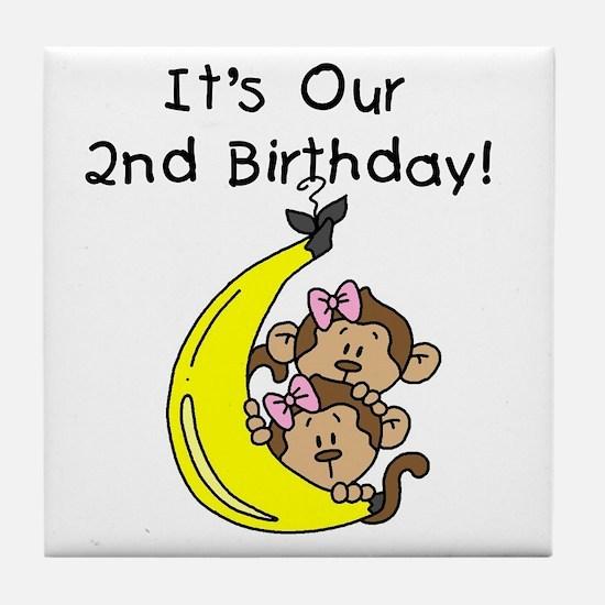 Twin Girls 2nd Birthday Tile Coaster