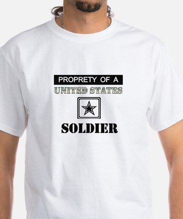 Property of a US Soldier White T-Shirt
