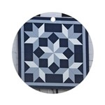 Snow Crystals quilt square Ornament (Round)