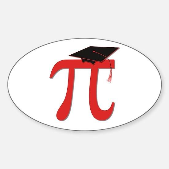 Red Pi Grad Sticker (Oval)