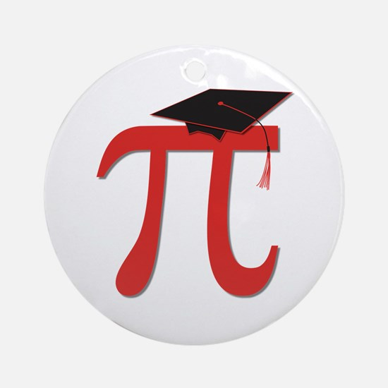 Red Pi Grad Ornament (Round)