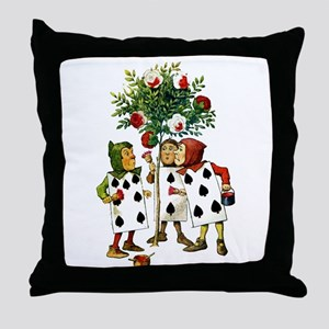ALICE- PAINTING THE QUEENS ROSES Throw Pillow