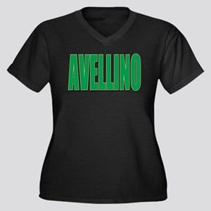 AVELLINO Women's Plus Size V-Neck Dark T-Shirt