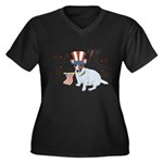 JRT with USA Flag Women's Plus Size V-Neck Dark T-