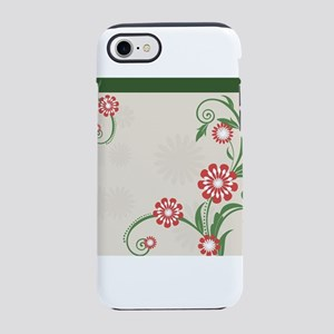Simple Red and White Flowers C iPhone 7 Tough Case