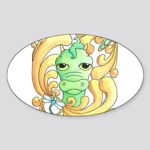 Framed Dragon Face Sticker (Oval)