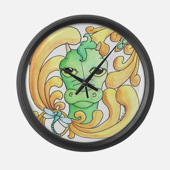 Framed Dragon Face Large Wall Clock