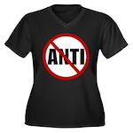 Anti-Anti Women's Plus Size V-Neck Dark T-Shirt