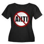 Anti-Anti Women's Plus Size Scoop Neck Dark T-Shir