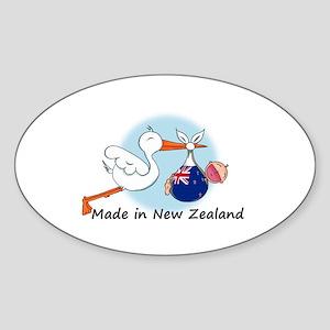 Stork Baby New Zealand Sticker (Oval)