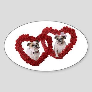 Bulldog Love Oval Sticker