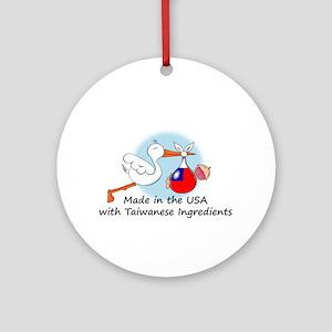 Stork Baby Taiwan USA Ornament (Round)