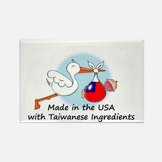 Stork Baby Taiwan USA Rectangle Magnet