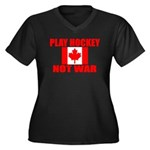 PLAY HOCKEY Women's Plus Size V-Neck Dark T-Shirt
