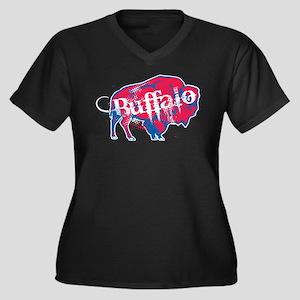 Just Buffalo Women's Plus Size V-Neck Dark T-Shirt