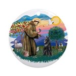 St Francis #2/ Belgian Shep Ornament (Round)