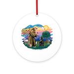 St Francis #2/ Belgian Shep Ornament (Round)
