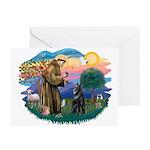 St Francis #2/ Belgian Shep Greeting Cards (Pk of