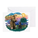 St Francis #2/ Belgian Shep Greeting Card