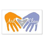 Art in Clay / Heart / Hands Sticker (Rectangle 50