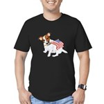 Jack Russell With USA Flag Men's Fitted T-Shirt (d