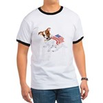 Jack Russell With USA Flag Ringer T
