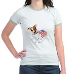 Jack Russell With USA Flag Jr. Ringer T-Shirt
