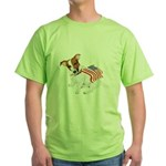 Jack Russell With USA Flag Green T-Shirt