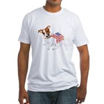 Jack Russell With USA Flag Fitted T-Shirt