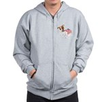 Jack Russell With USA Flag Zip Hoodie